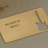 Bronze Wallet Insert with You Rock My World and a Guitar Cut Out