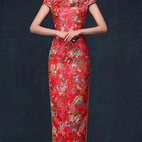 Floral Classic Traditional Bridal Qipao Gown