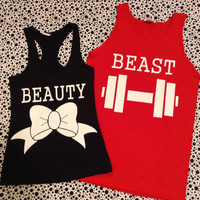 Beauty and The Beast Matching Couples TShirts Black and Red