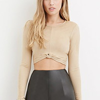 Knotted Faux Suede Crop Top