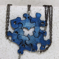 Best friend necklaces Set of 5 puzzle piece necklaces Blue and Pearl with butterfly cut outs