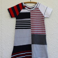Recycled T Shirt Dress for Girl Size 8 made from Upcycled Striped T-shirts, Raglan Sleeve Tshirt Dress for Girl, Upcycled T Shirt Dress