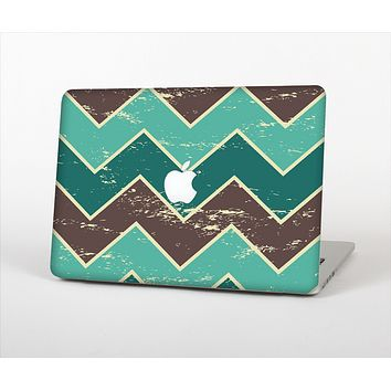 "The Vintage Green & Tan Chevron Pattern V2 Skin Set for the Apple MacBook Pro 13"" with Retina Display"