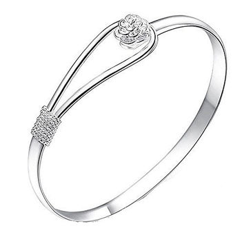 Basket Hill Watches and Gifts, 925 Silver Plated with Rose Closure Bangle Bra...