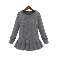Women Knitting Sweater Floral Print Sexy O-Neck Ball Gown Top Fashion Outwear = 1667683588