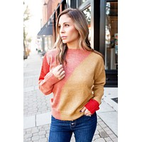 Full Of Warmth Knit Sweater (Coral/Mustard) FINAL SALE