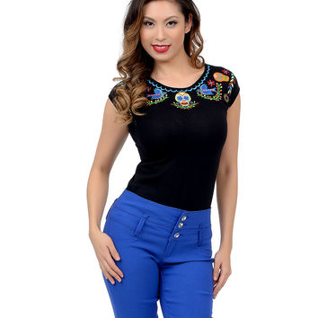 Black & Multicolor Embroidered Day of the Dead Dame Top