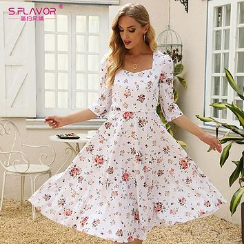 Women White Floral Printed Summer Dress Elegant Square Collar 3/4 Sleeve A-line De French Style Sundress