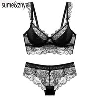 Women Lace Embroidery Bra And All Lace Seamless Panties Set