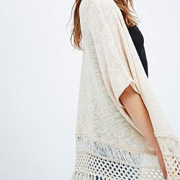 Staring at Stars Knit Kimono in Ivory - Urban Outfitters
