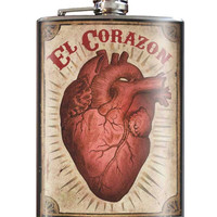 El Corazon Flask 8 oz. Stainless Steel