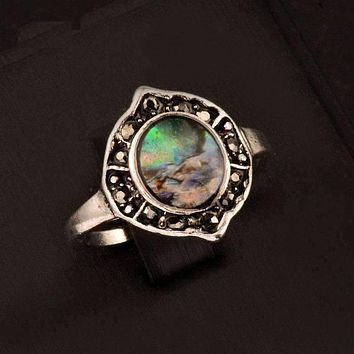 Shield Abalone Shell and Black Crystal Vintage Silver Ring