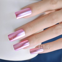 20pcs Fashion Baby Pink Metal Plate Fake Nails Reflective Mirror Punk Style Metallic Long Square False Nail for Party or Gift
