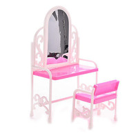 1 Set Bedroom Furniture for Barbie with Table Chair Play House Toy Baby  3C
