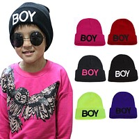 Baby Boys Hat Knitted Woolen Boy Letter Caps Hats for Boys Baby Kids Children Warm Winter Autumn Spring A Hat For A Boy