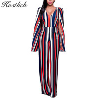Kostich 2016 Sexy Women Overalls Cloak Backless Jumpsuit V-neck Sleeveless Striped Multicolor Print Rompers Womens Jumpsuit