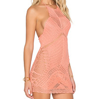 Palm Spring Halter Mini Dress in Coral