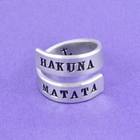 HAKUNA MATATA  - Hand Stamped Spiral Ring, Inspired Phrase Ring, Personalized Inspirational Ring, Anchor Ring