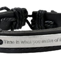 Black Leather Hemp Steel Plate Time Is What You Make of It Handmade Leather Bracelet #14