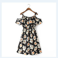 QZ2044 Fashion Ladies' Sexy floral print Dress off shoulder vintage ruffles sleeve dress casual slim brand dress plus size