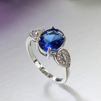 ORSA Rare Blue Cubic Zircon Engagement Ring White Gold Plated Jewelry For Women PR21
