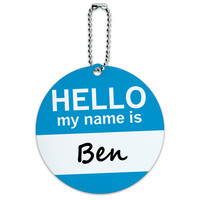Ben Hello My Name Is Round ID Card Luggage Tag