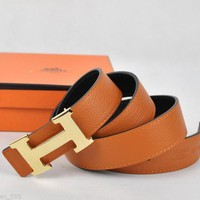 Preowned Authentic w/Box Hermes Unisex's Gold Buckle & Orange Leather Belt Sz.95