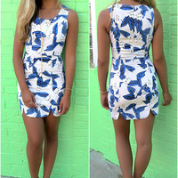 To The Tropics Blue & Off White Botanical Print Fitted Dress