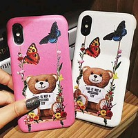 Moschino New fashion bear floral butterfly couple protective cover phone case