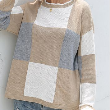 New long fashion color matching knit all-match cardigan