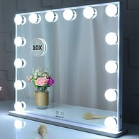 BEAUTME Lighted Vanity Mirror with 14 Led Bulbs Lights Replaceable,Hollywood Style Makeup Cosmetic Mirrors with Touch Control Design, Tabletop or Wall Mounted Vanity Mirrors (White) White