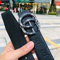 GUCCI 2018 new snake pattern double G buckle head wild men and women smooth buckle belt