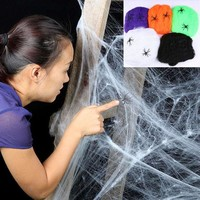 DKF4S Stretchy Spider Web Cobweb With Spider for Halloween Party Decoration New