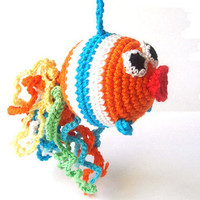 Crochet toy - a fish - orange - breast feeding - toy rattle - teething toy - nursing necklace - gift for baby