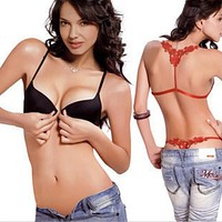 Lady Sexy Women lingerie set Front Closure Butterfly Lace Racer Back Push Up Bra + G-string