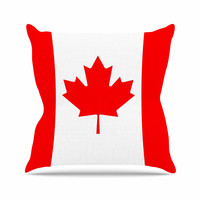 """Bruce Stanfield """"Flag of Canada"""" Red White Throw Pillow"""