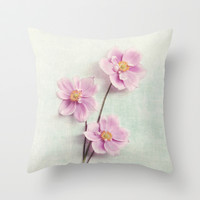pink anemone Throw Pillow by Sylvia Cook Photography
