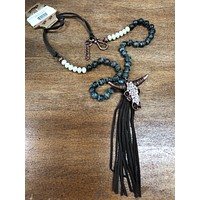Rhinestone bull skull with leather tassel (other colors)