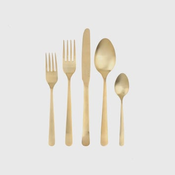 Oslo Cutlery Set of 4 - Matte Gold
