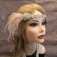 Art Deco 1920s Flapper Headband Gatsby Wedding Headpiece 20s Party Vintage Handmade Ostrich Feather Trim Motif Pink Mauve Tan (6780