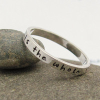 "Cute new personalized poesy ring, hand stamped casual tiny font, sterling silver ""skinny fit plus""."