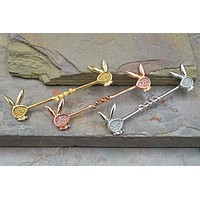 Silver, Gold or Rose Gold Sparkly Playboy Bunny Industrial Barbell