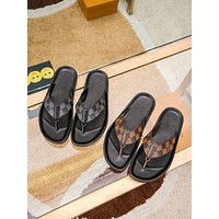 LV Louis Vuitton Men's And Women's Leather Slippers Sandals Shoes