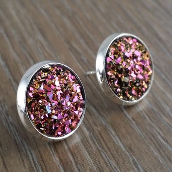 Druzy earrings- pink gold drusy silver tone stud druzy earrings
