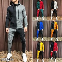 Men Tracksuit Set Hoodie Top AND Bottoms Jogger Gym Plain Zip Pockets Slim Fit UK