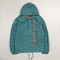 Supreme 17ss Vertical Logo Hooded Coaches Jacket S Xl Lake Blue | Best Deal Online