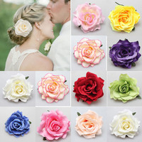 New DIY Headdress Hair Accessories For Bridal Wedding Flocking Cloth Red Rose Flower Hairpin Hair Clip