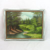 Mid Century Framed Oil on Canvas Mountain Scenery Artist Signed