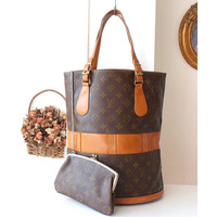 Louis Vuitton Monogram Large Bucket Vintage Handbag GM Authentic