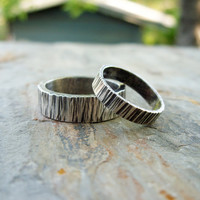 Personalized Matching Tree Bark Wedding Band Set in Sterling Silver Wood Grain - Flat, Rectangular Band